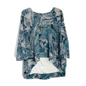 Seven7 Melissa McCarthy Blue Gray Marble Sweater